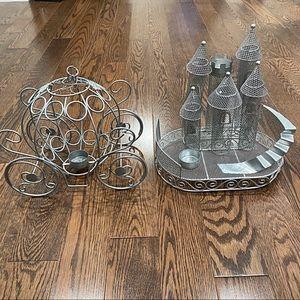 {Disney} 2-Piece Tea Light Metal Chariot, Castle